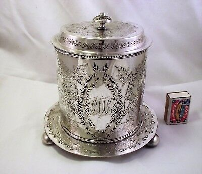 Large Victorian Silver Plated Biscuit Box/biscuit Barrel Walker & Hall Engraved