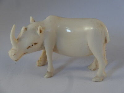 Antique Carved Bovine Bone Oriental Japanese Netsuke Rhino Rhinoceros