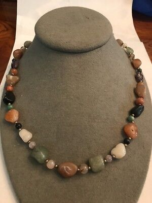 "Vintage Jewelry Designer Sterling Silver Agate Multi-Gemstone Bead 26"" Necklace"