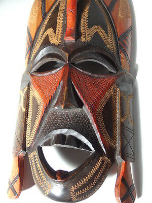 Jambo 1981 Vintage African Wooden Mask Hand Carved Wood Face Head Wall Plaque