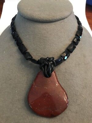Vintage Costume Jewelry Designer Black Onyx Glass Gemstone Necklace