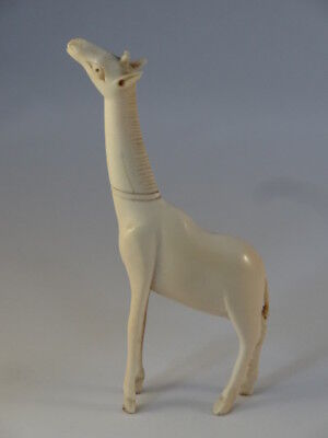 Antique Carved Bovine Bone Oriental Japanese Netsuke African Giraffe