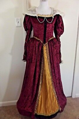 Medieval Style Costume Dress Sz 12-14 Renaissance Gown Burgundy Gold COSPLAY