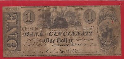 1844 $1 Obsolete Note,The Miami Export Co. Bank in Cincinnati, Ohio,Fine,Nice!
