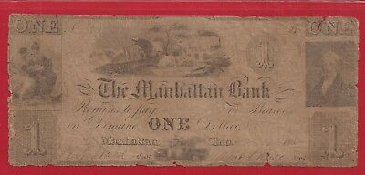 1830's $1 Obsolete Note,The Manhattan Bank,Manhattan Ohio,Very Good,Nice!