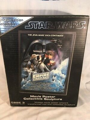 """Code 3 Star Wars The Empire Strikes Back Style """"A""""  Movie Poster Sculpture NIB"""