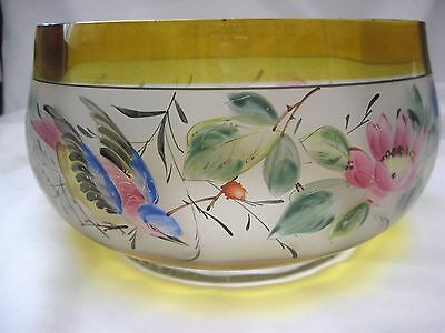Hand Painted Bird Bowl Frosted U S Glass HP Flowers Vintage Salad Bowl