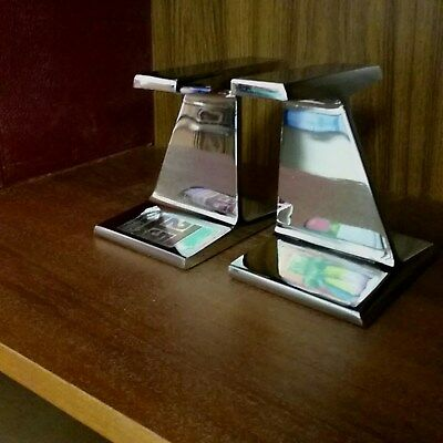 Vintage FONTANA, CA KAISER STEEL CO. Railroad Tie Chrome-Plated Steel Bookends