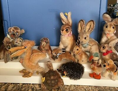 Vintage Lot of 15 Steiff Animals  All Very Clean and Ready to Display