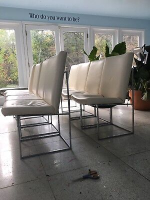 Thayer Coggin 1970s Milo Baughman Designed Chrome Dining Chairs ~ Set of 8