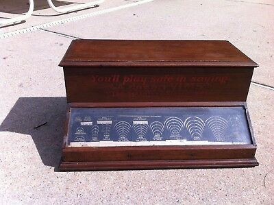 Antique Walnut Wood Vims Needles Counter Top Store Display Case Cabinet Showcase