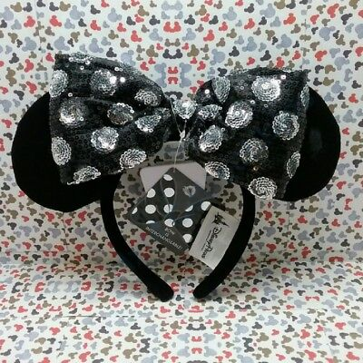 Interchangeable Bow Minnie Mouse Ears 2017 Disney Parks Black Silver Sequin NWT