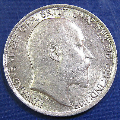 1909 6d Edward VII Scarce silver Sixpence in an extremely high grade
