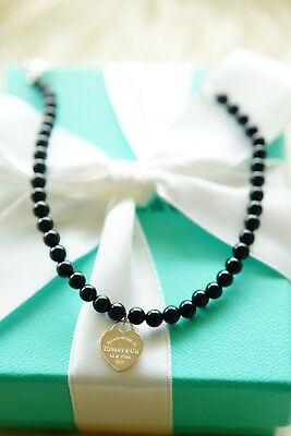 "Authentic Tiffany & Co 4MM Mini Beads Onyx With RTT Tag Bracelet 7.5"" 925/Silver"
