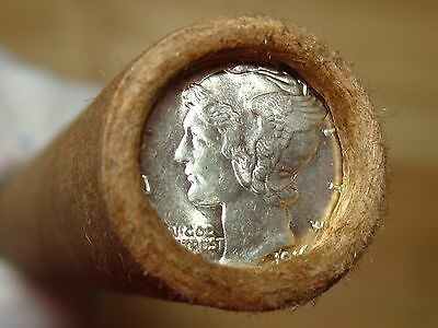 ONE UNSEARCHED - Mercury Silver Dime Roll 1916 & D-Mint Mercury Ends