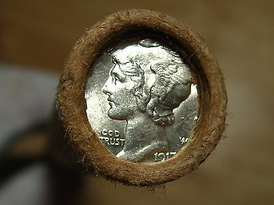 ONE UNSEARCHED - Mercury Silver Dime Roll 1917 & D-Mint Mercury Ends