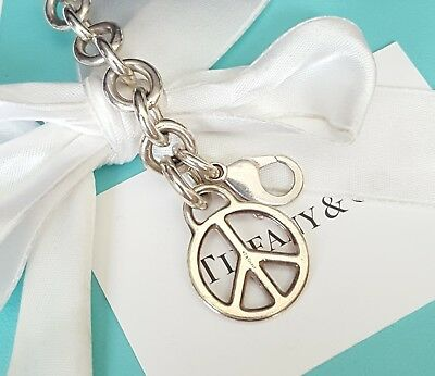 Tiffany & Co Silver Open Peace Sign Charm Bracelet with Box and Pouch