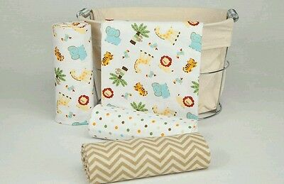 """4 Pack receiving baby blankets 30""""X30"""" with disposable baby bibs/changing mats"""