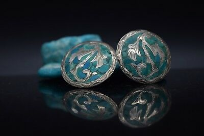 Sterling Silver Estate Turquoise Clip Earrings