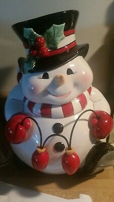 Fitz and Floyd Classics Cheers Christmas Snowman Cookie Jar Holiday Lights