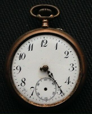 Non-working Antique Remontoir Cylindre 10 Rubis Silver Pocket Watch