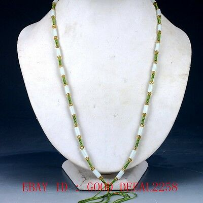 100% Natural Jade Handwork Carved Beaded Necklace  XL075