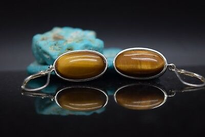Sterling Silver Estate Tiger's Eye Earrings