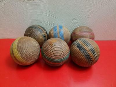 6 Vintage Primitive Wooden Stripe Ribbed Weathered Croquet Ball Lot