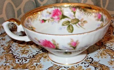 Vintage Tea Cup White With Pink Rose Floral Accents & Gold Leaf
