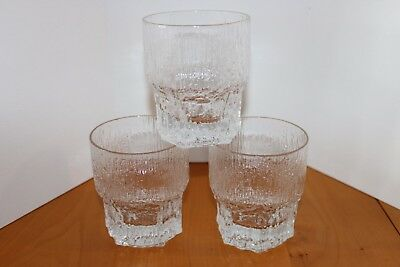 3 Iittala Glass Aslak Large Tumblers Glasses 12oz By Tapio Wirkkala MCM Finland