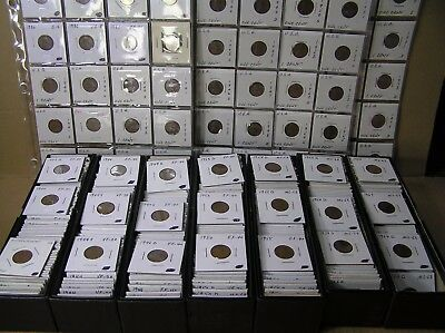 Lincoln Cent Lot of 635 Coins, All in 2x2 coin holders, 1920's to 1980's