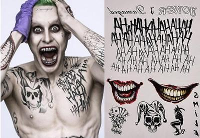 Halloween Cosplay Batman Suicide Squad Joker Abwaschbare Tattoos Sticker Set UK