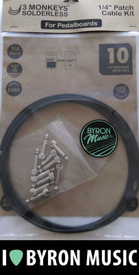 3 Monkeys Solderless Patch Cable Kit DIY 10 Plugs 10ft Black