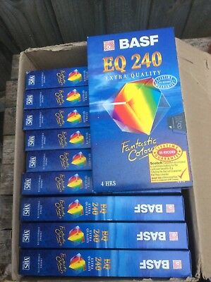 10 x BASF 240 minute/4 hour VHS video tapes unused sealed,High Standard,