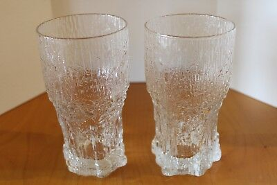 2 Iittala Glass Aslak Tall Tumblers Glasses 12oz By Tapio Wirkkala MCM Finland