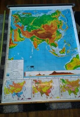 Vintage Pull Down School Map  Asia Southeast Australia collectible. Nystrom