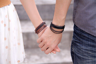 Handmade multi-style vintage leather cord bracelets Set of 2, 1 brown + 1 Black