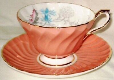 Aynsley Cup & Saucer Dusty Rose Swirl 1470 England