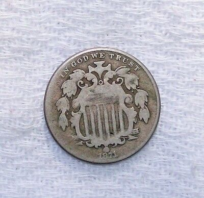 1871 Shield Nickel Five Cent-Piece, A Good Plus Coin. A Must See
