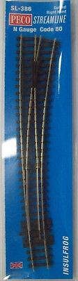 Peco Sl-386 N Scale Code 80 Rail Curved Right Hand