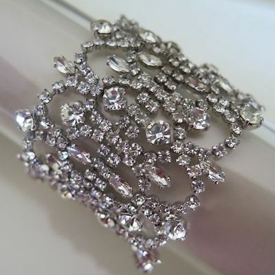 SHERMAN Wide Lacy Diamante Swarovski Crystal Bracelet