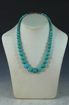 Vintage Chinese Carved Turquoise Bead Necklace