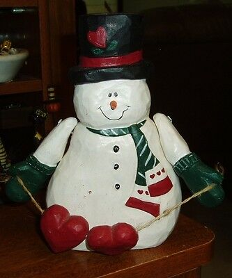 Eddie Walker Midwest Of Cannon Falls Snowman Holding 2 Hearts