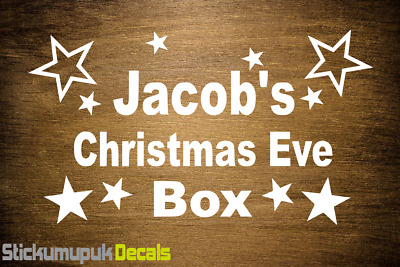 Christmas Eve Box Personalised Vinyl Sticker Decal, Kids gift style 16 Colours