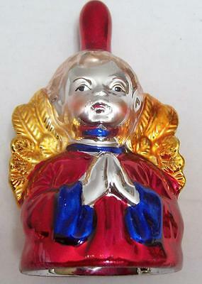 """ANGEL BELL w/ CLAPPER Painted Mercury GLASS-STYLE Choir Christmas HOLIDAY 5.5"""""""