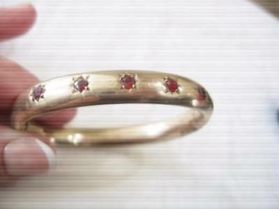 Antique Nouveau Gold Filled Heavy 5 Red Gem Stone Embedded Bangle Bracelet