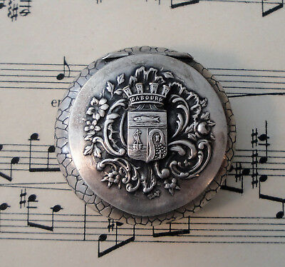Antique French Art Nouveau Silver Plated Pill Box Compact Rouge Cabourg c.1900