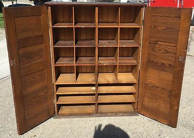 Neat OLD Antique Cubby Hole Storage Cabinet Oak