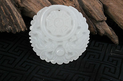 Chinese Fashion hand carved white jade dragon and phoenix pendant