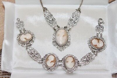 Rare VICTORIAN Hand Spun 800 Silver Carved SHELL CAMEO Necklace & Bracelet SET